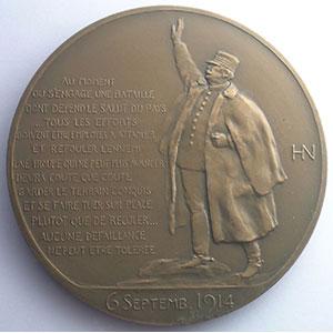 Henry Nocq   J. Joffre, Maréchal de France   bronze  68mm    SUP