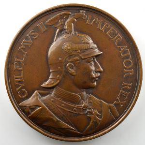 Inauguration du portail du Christ de la Cathédrale de Metz   Médaille en bronze  65mm   Guillaume II   1903    SUP