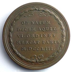 J.Duvivier   Naissance du Duc d'Aquitaine   bronze   41,5mm    SUP/FDC