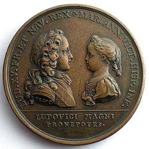 J.Le Blanc/Duvivier   Projet de mariage entre Louis XV et l'Infante d'Espagne   bronze   41mm    TTB+/SUP