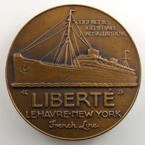 J. VERNON   Médaille en bronze  50mm   Cie Gle Transatlantique   Liberté    SUP/FDC