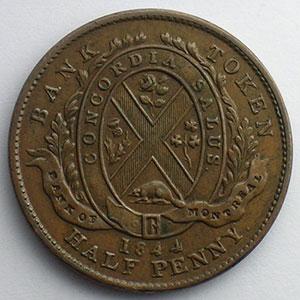 Jeton à la façade de la banque en cuivre   1/2 Penny   1844    SUP