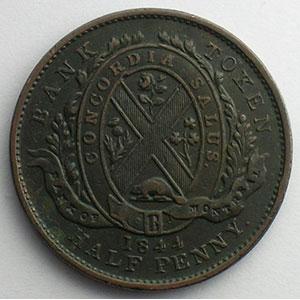 Jeton à la façade de la banque en cuivre   1/2 Penny   1844    TB+/TTB