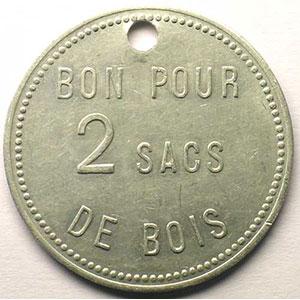 Jeton de Chauffage   Bon pour 2 sacs de bois   Alu, R tr  38,5mm    TTB+