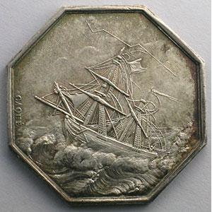 Jeton octogonal en argent   1829   Paris    TTB+