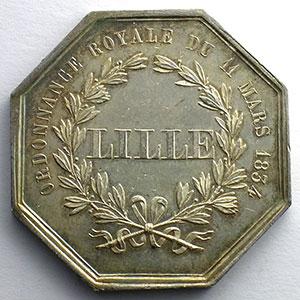 jeton octogonal en argent   1834    SUP
