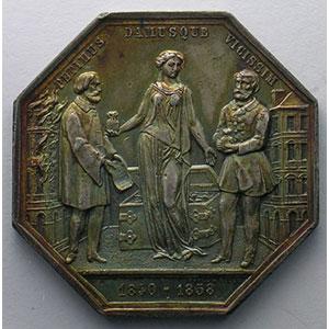 Jeton octogonal en argent   1858    TTB+