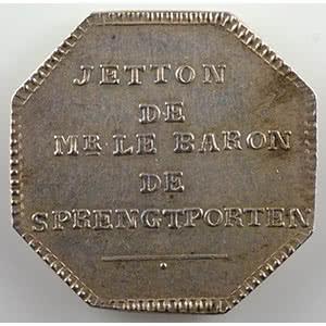 Jeton octogonal en argent   Baron de Sprengtporten (Ambassadeur de Suède en France)    SUP