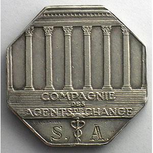 jeton octogonal en argent   Compagnie des Agents de Change   1967    SUP