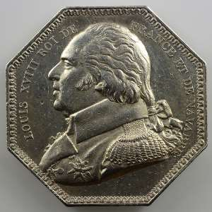 Jeton octogonal en argent   Louis XVIII   1814    TTB+
