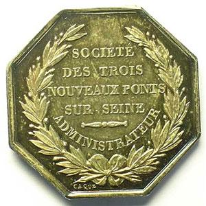Jeton octogonal en argent    Société des Trois Nouveaux Ponts sur Seine - Administrateur   Louis-Philippe I    SUP/FDC