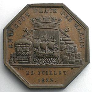 jeton octogonal en cuivre   Entrepôt place des Marais   Louis-Philippe I   1833    SUP