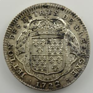 jeton rond en argent   29mm   Louis XV   Etats de Bretagne   1722    TTB+