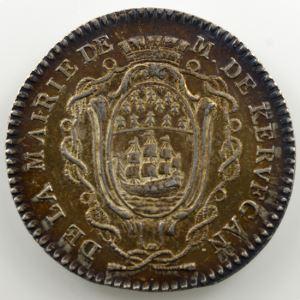 jeton rond en argent  29mm   Maires de Nantes   Christophe Claire Daniel de Kervégan   1789-1790    SUP