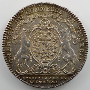Jeton rond en argent   30mm   Amiens, Chambre de Commerce de Picardie   1761    TTB+