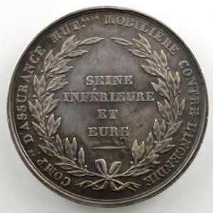 Jeton rond en argent   34mm   1837   Incendie    TTB