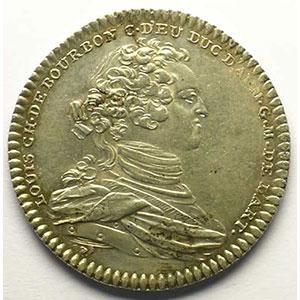 jeton rond en argent   Louis Charles de Bourbon   1748    SUP