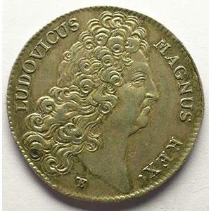 jeton rond en argent   Louis XIV   1707    TTB+/SUP