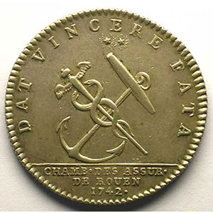 jeton rond en argent   Louis XV   1742    TTB+/SUP