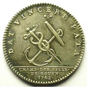 jeton rond en argent   Louis XV   1742    TTB+