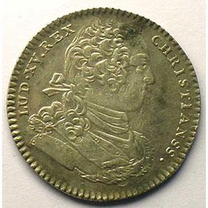 jeton rond en argent   Louis XV   1755    TTB