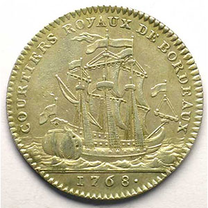 jeton rond en argent   Louis XV   1768    TTB