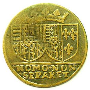 Jeton rond en cuivre   27mm   Charles III et Claude de France, fille du roi Henri II   1563    B/TB