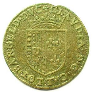 Jeton rond en cuivre   27mm   Charles III et Claude de France, fille du roi Henri II   s.d.    TB+