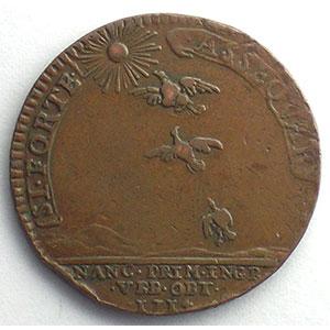 Jeton rond en cuivre   28mm   1714    TTB