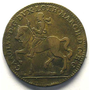 Jeton rond en cuivre   28mm   Charles IV   1663    TB/TB+
