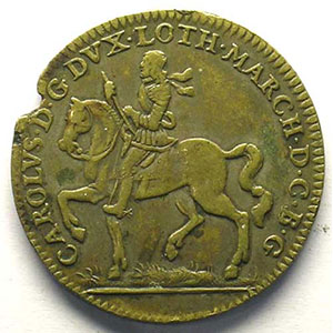 Jeton rond en cuivre   28mm   Charles IV   1663    TTB