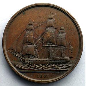 Jeton rond en cuivre   35mm   1847   Assurances Maritimes    SUP