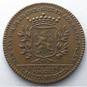Jeton rond en cuivre   Inauguration à Namur   1791    SUP