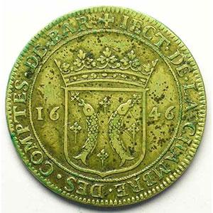 Jeton rond en cuivre   Louis XIV   28,5mm   1646    TB+