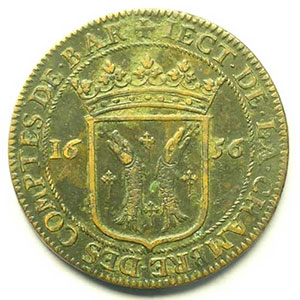 Jeton rond en cuivre   Louis XIV   28mm   1656    TB+/TTB