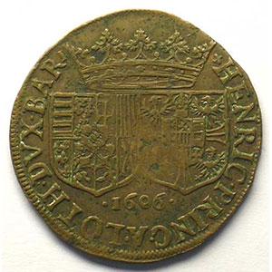 Jeton rond en cuivre   Union du futur Duc et de Marguerite de Gonzague   1606    TB+/TTB