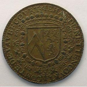Jeton rond en étain bronzé   Iehan de Nettencourt, comte de Vaubecourt    TTB+/SUP