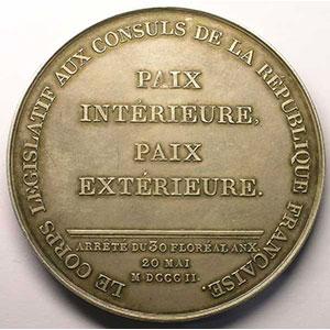 JEUFFROY   Promulgation du traité d'Amiens   1802   argent   68 mm    SUP
