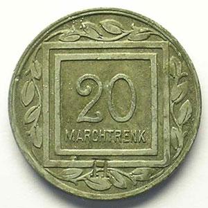 KGL (Kriegsgefangenenlager) Marchtrenk   1915    20 Pf   contremarqué H    TTB