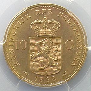 KM 124   10 Gulden   1898    PCGS-AU58    SUP