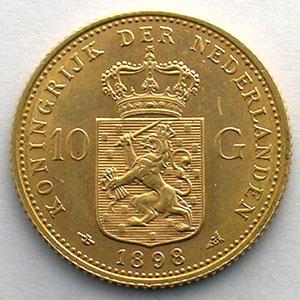 KM 124   10 Gulden   1898    SUP