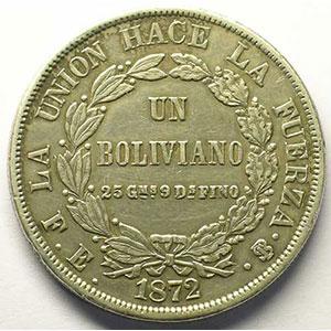 KM 155.4   Boliviano   1872  PTS FE    TB+/TTB