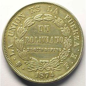 KM 160.1   Boliviano   1874  PTS FE    TTB