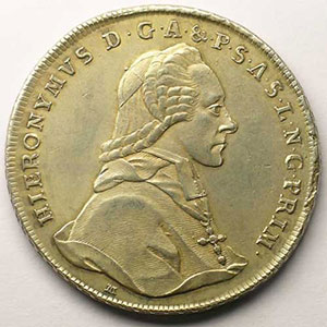 KM 435   Thaler   Hieronymus (1772-1803)   1777 M    TTB+/SUP