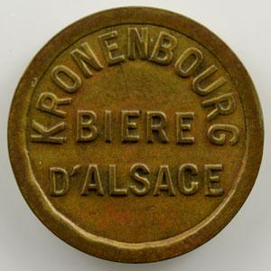 Kronenbourg, Bière d'Alsace   jeton rond en laiton  19.5mm    TTB+