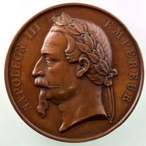 L. Merley F.   Inauguration du tribunal de commerce de Paris le 26 décembre 1865   Médaille en cuivre 75mm    TTB+