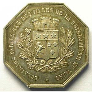 La Guillotière et Vaise   jeton octogonal en argent    SUP
