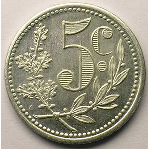 Lec.124   5 Centimes   1917 (Essai) alu rond    SUP/FDC