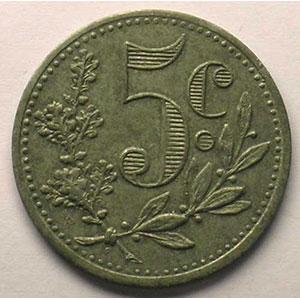 Lec.127   5 Centimes   1917  zinc    SUP
