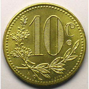 Lec.141   10 Centimes   1919  Essai laiton    SUP/FDC